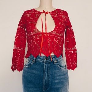 For Love & Lemons Red Gianna Crop Top